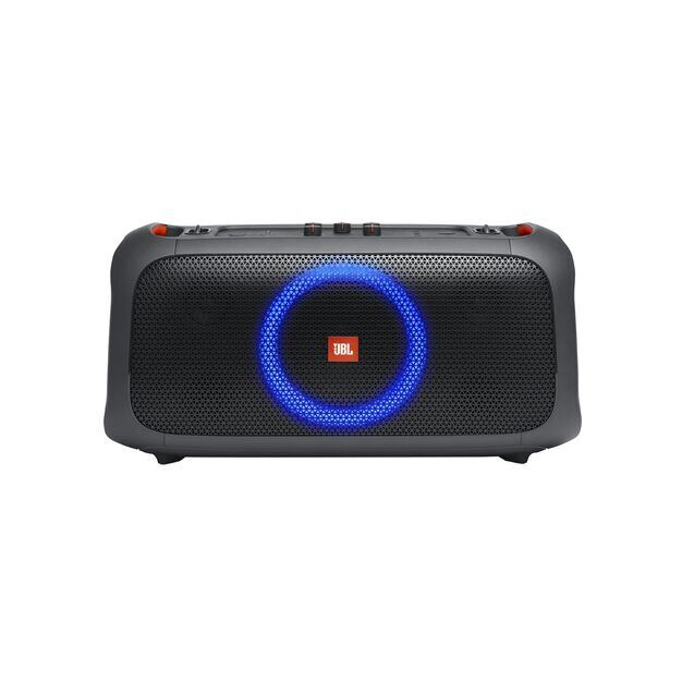 JBL PartyBox On-The-Go - Black - Portable party speaker with built-in lights and wireless mic - Front