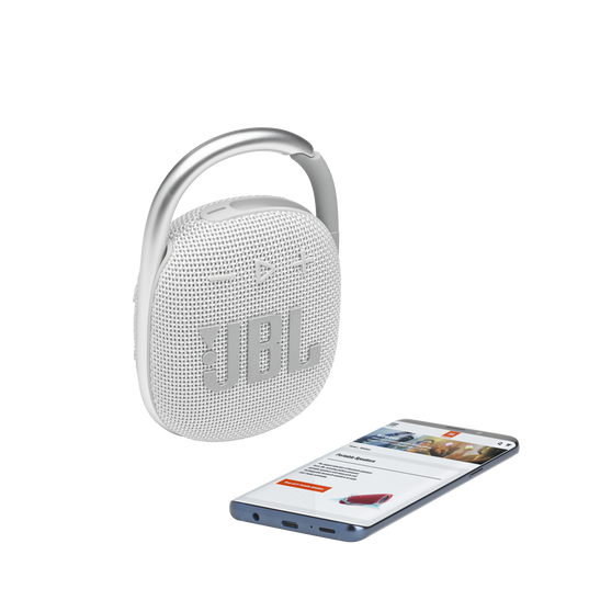 JBL CLIP 4 - White - Ultra-portable Waterproof Speaker - Detailshot 1