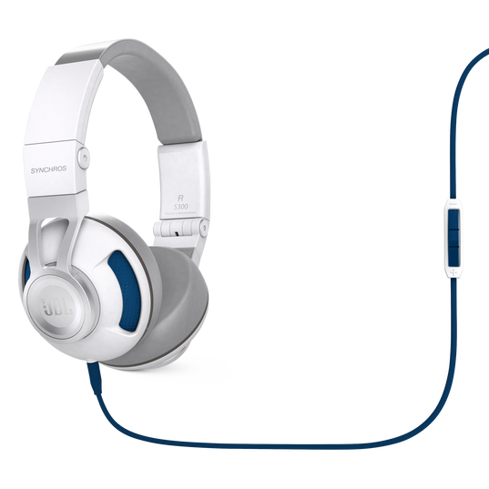 Synchros S300i - White / Blue - Synchros on-ear stereo headphones - Hero
