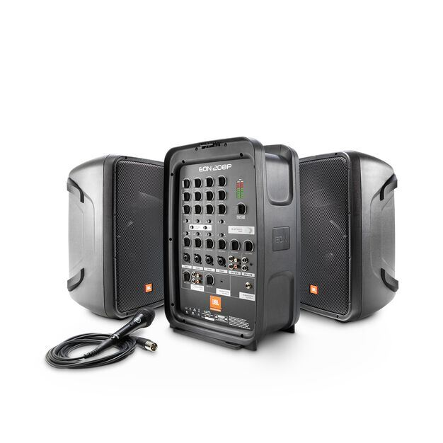 "JBL EON208P - Black - Portable 8"" 2-Way PA with Powered 8-Channel Mixer and Bluetooth® - Hero"