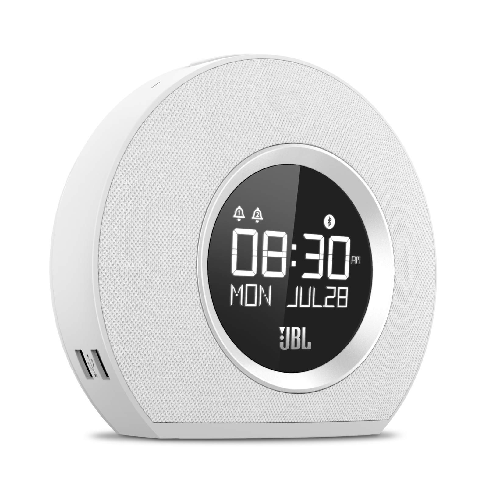 JBL Horizon - White - Bluetooth clock radio with USB charging and ambient light - Hero